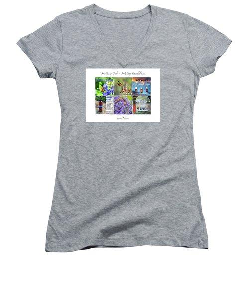 So Many Oils Women's V-Neck T-Shirt (Junior Cut) by Cheryl McClure