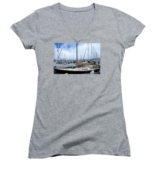 Women's V-Neck T-Shirt (Junior Cut) featuring the photograph So Many Sailboats by Laura DAddona