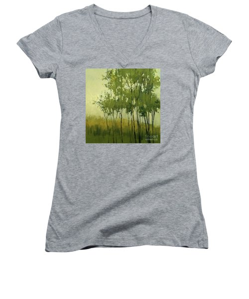 So Tall Tree Forest Landscape Painting Women's V-Neck (Athletic Fit)