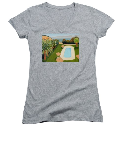 Women's V-Neck T-Shirt (Junior Cut) featuring the painting So Very California by Gary Coleman