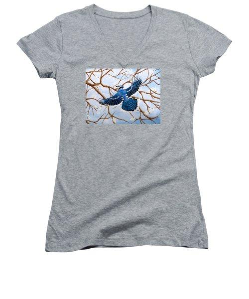 Soaring Blue Jay  Women's V-Neck