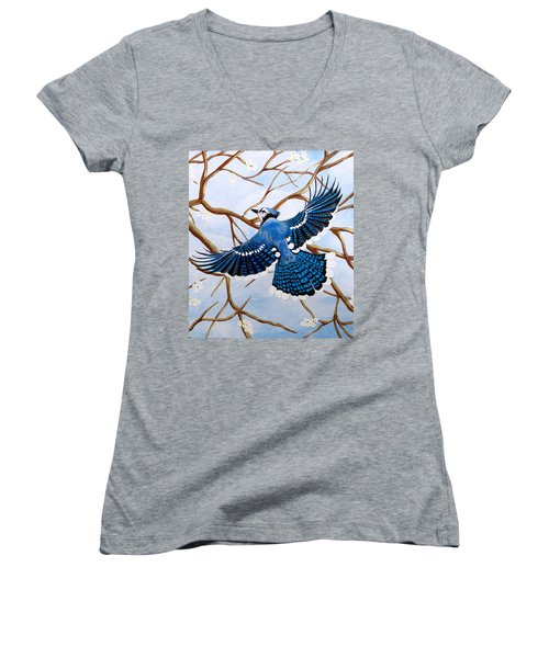 Soaring Blue Jay  Women's V-Neck