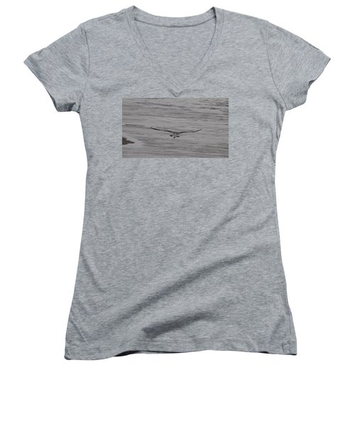 Women's V-Neck T-Shirt (Junior Cut) featuring the photograph Soaring Gull by  Newwwman