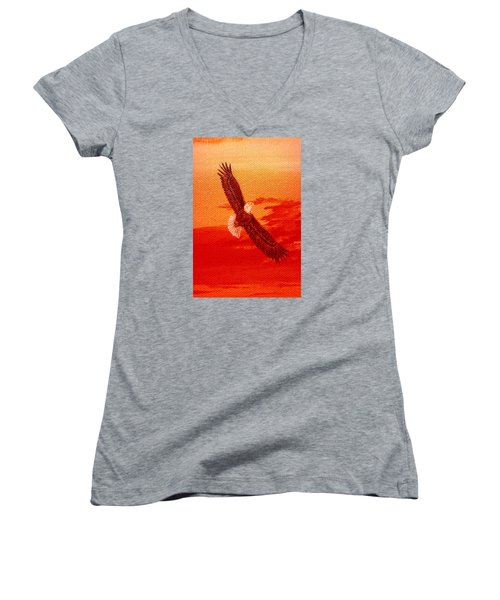 Women's V-Neck T-Shirt (Junior Cut) featuring the painting Soaring by Katherine Young-Beck