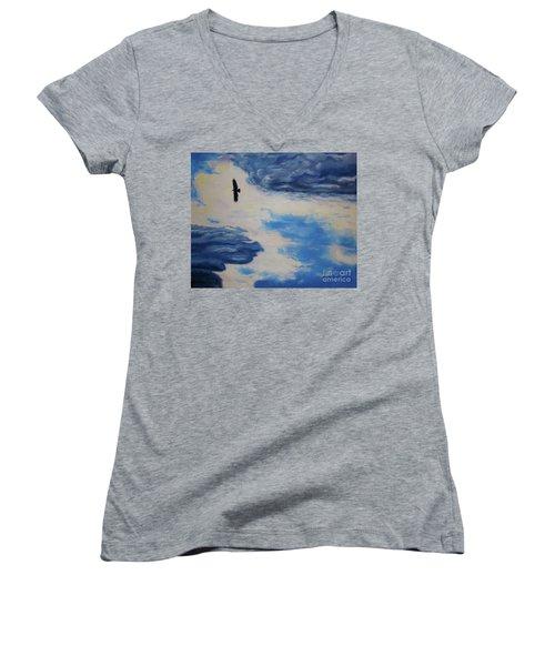 Soaring   Women's V-Neck T-Shirt (Junior Cut) by Lisa Rose Musselwhite