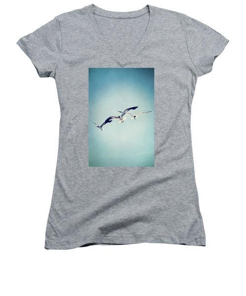 Women's V-Neck T-Shirt (Junior Cut) featuring the photograph Soaring Seagulls by Trish Mistric