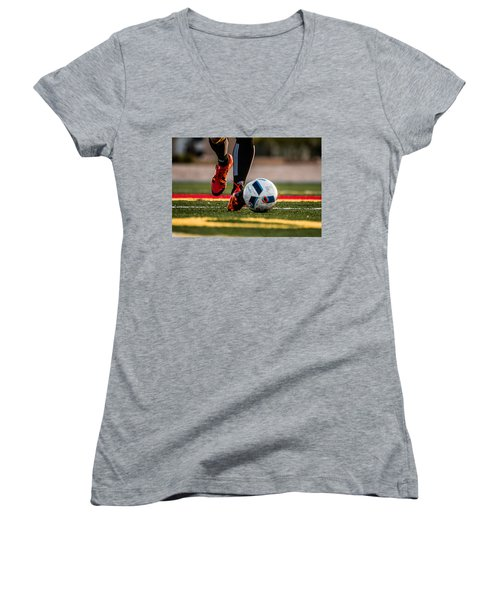 Soccer Women's V-Neck T-Shirt (Junior Cut) by Hyuntae Kim