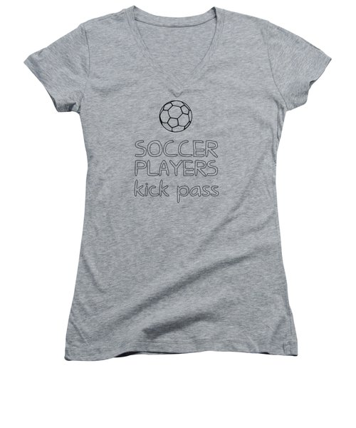 Soccer Players Kick Pass Poster Women's V-Neck (Athletic Fit)