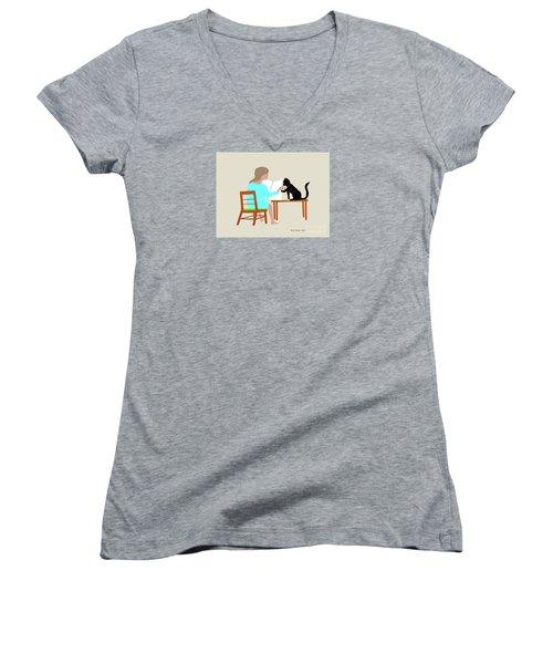 Socks Reads Sunday Paper Women's V-Neck T-Shirt (Junior Cut) by Fred Jinkins