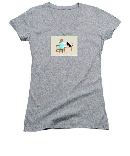 Socks Reads Sunday Paper Women's V-Neck T-Shirt