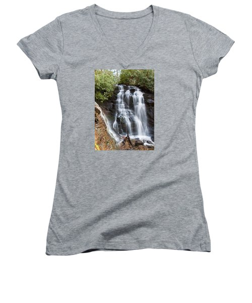 Women's V-Neck T-Shirt (Junior Cut) featuring the photograph Soco Falls by Craig T Burgwardt