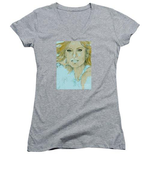 Sofia Vergara Women's V-Neck T-Shirt (Junior Cut) by P J Lewis