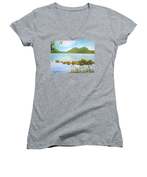 Soft Art Photograph Jordan Pond Acadia Nat. Park Maine Women's V-Neck (Athletic Fit)