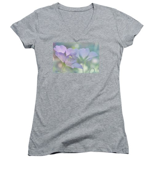 Women's V-Neck T-Shirt (Junior Cut) featuring the photograph Soft Blue by Ann Lauwers