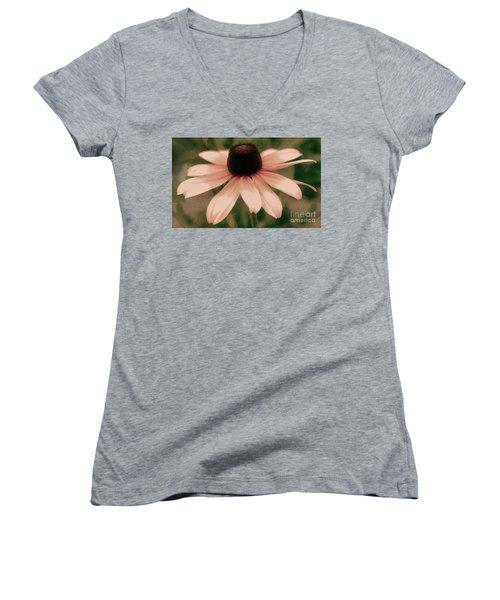 Soft Delicate Pink Daisy Women's V-Neck T-Shirt (Junior Cut) by Judy Palkimas