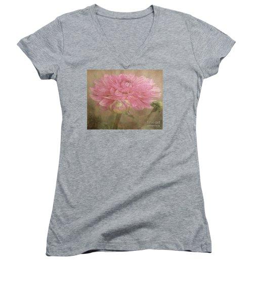 Soft Graceful Pink Painted Dahlia Women's V-Neck T-Shirt (Junior Cut) by Judy Palkimas