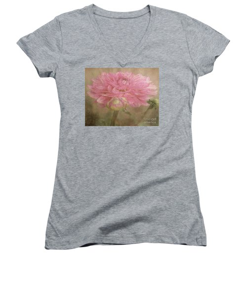 Soft Graceful Pink Painted Dahlia Women's V-Neck T-Shirt