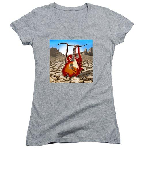 Soft Guitar II Women's V-Neck (Athletic Fit)
