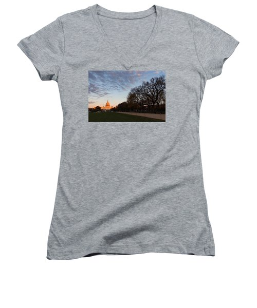 Soft Orange Glow - U S Capitol And The National Mall At Sunset Women's V-Neck