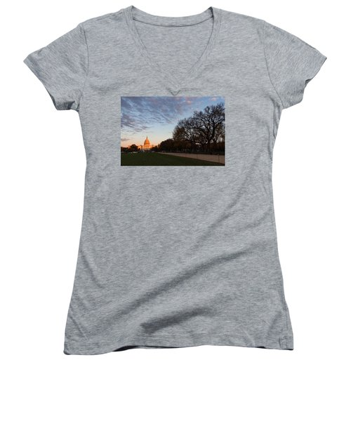 Soft Orange Glow - U S Capitol And The National Mall At Sunset Women's V-Neck (Athletic Fit)