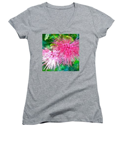 Soft Pink Flower Women's V-Neck (Athletic Fit)