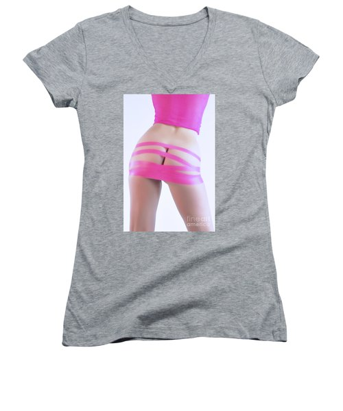 Soft Pink Tape Women's V-Neck T-Shirt