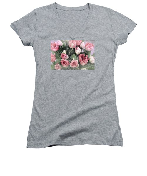 Soft Pink Tulips Women's V-Neck (Athletic Fit)