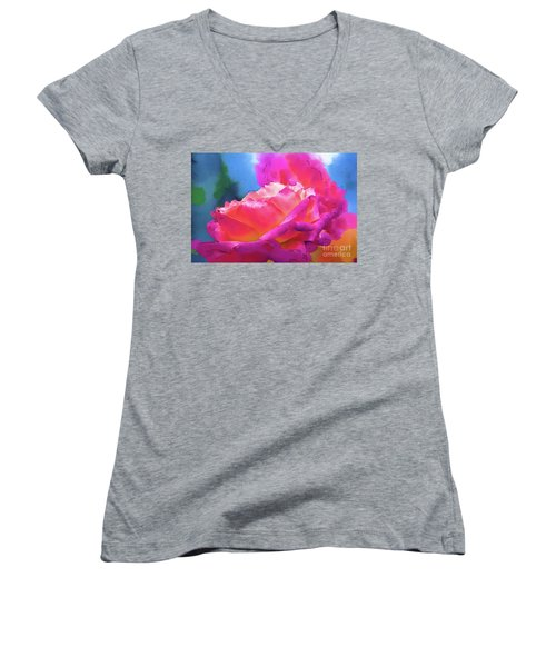 Soft Rose Bloom In Red And Purple Women's V-Neck T-Shirt