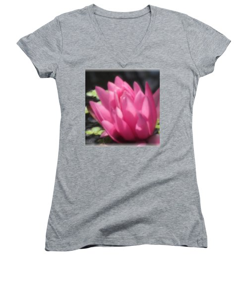 Women's V-Neck T-Shirt (Junior Cut) featuring the photograph Soft Touch Red Lotus by Debra     Vatalaro