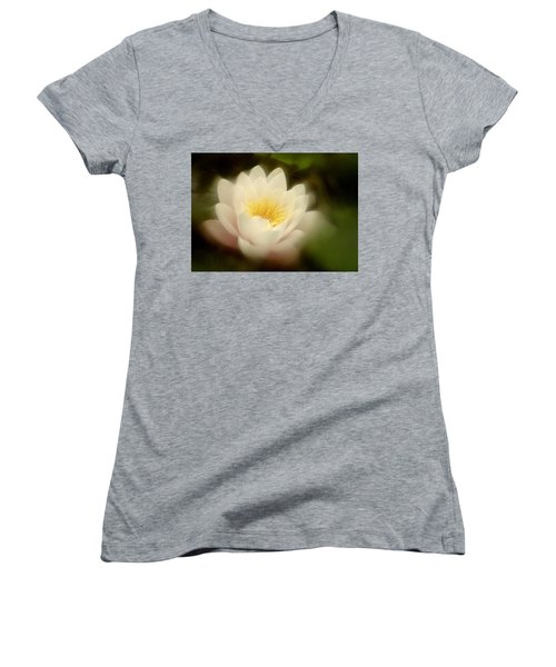 Soft Water Lily Women's V-Neck T-Shirt (Junior Cut) by Richard Cummings