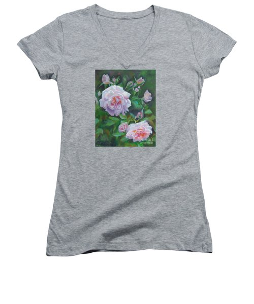 Women's V-Neck T-Shirt (Junior Cut) featuring the painting Softly Pink Roses by Karen Kennedy Chatham
