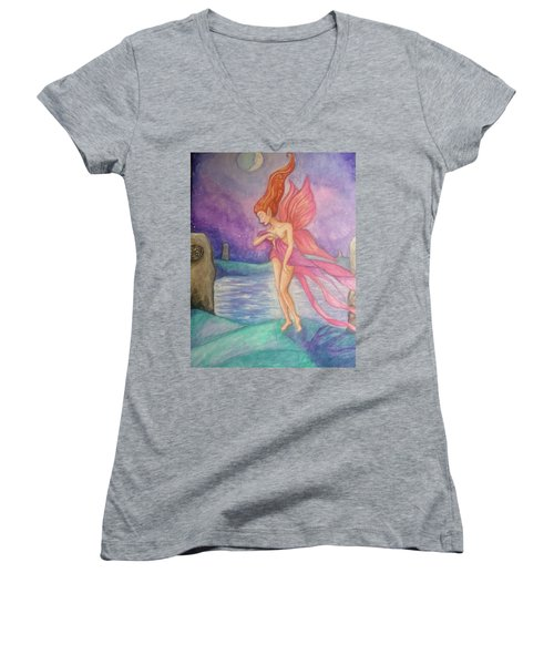 Softly,on The Wings Of Night Women's V-Neck (Athletic Fit)