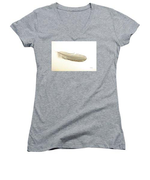 Softness Of A Feather Women's V-Neck T-Shirt (Junior Cut) by Randi Grace Nilsberg