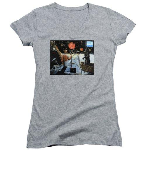 Solar Broadcast -transition- Women's V-Neck T-Shirt (Junior Cut) by Ryan Demaree