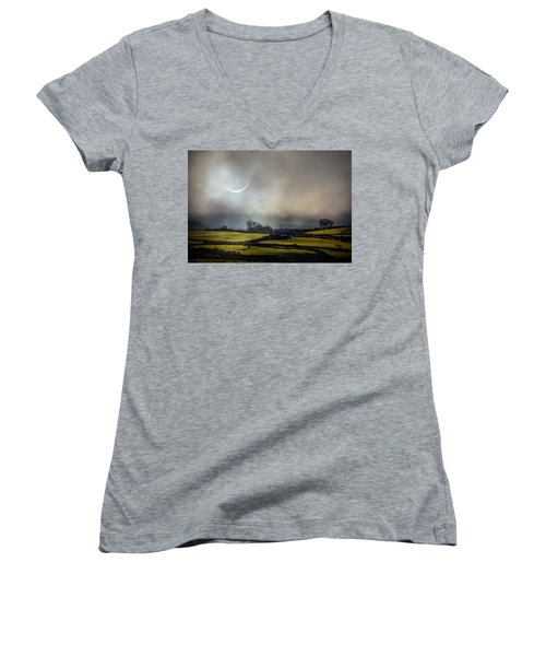 Solar Eclipse Over County Clare Countryside Women's V-Neck