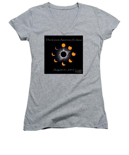 Solar Eclipse Stages Women's V-Neck T-Shirt