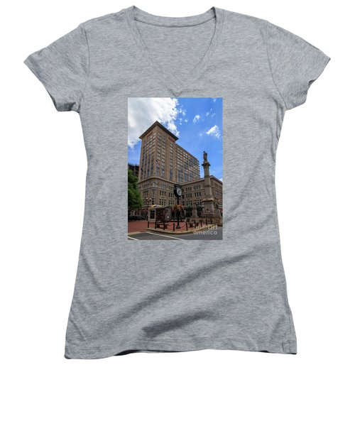 Soldiers Monument In Penn Square In Lancaster Women's V-Neck