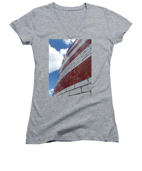Solid Flag Blue Sky Women's V-Neck T-Shirt