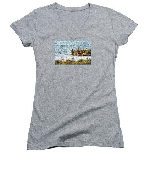 Solitary Heron Women's V-Neck T-Shirt (Junior Cut) by Audrey Van Tassell