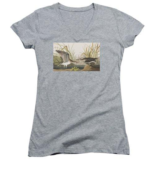 Solitary Sandpiper Women's V-Neck T-Shirt (Junior Cut) by John James Audubon