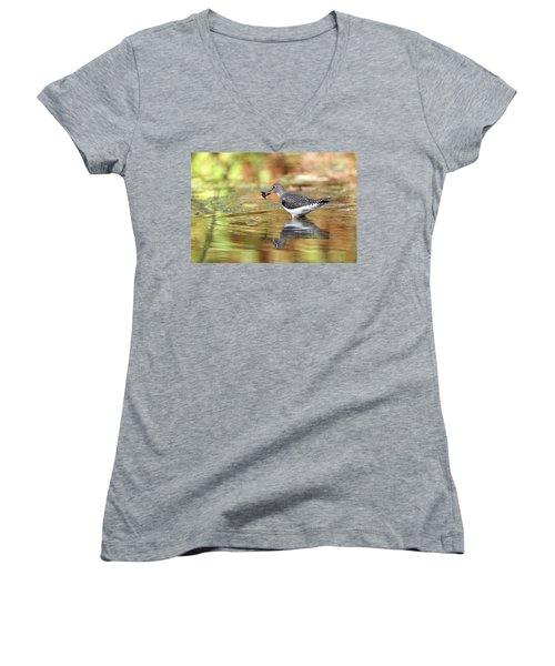 Solitary Sandpiper With Belostomatide Women's V-Neck T-Shirt