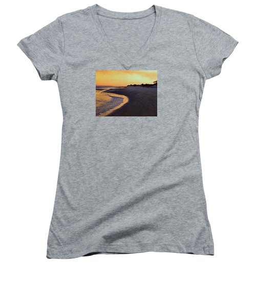 Women's V-Neck T-Shirt (Junior Cut) featuring the photograph Solitary Walker by Laura Ragland