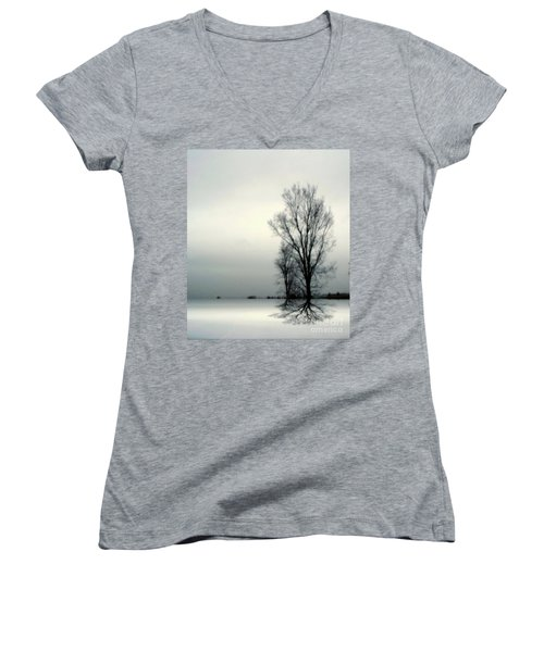 Women's V-Neck T-Shirt (Junior Cut) featuring the digital art Solitude by Elfriede Fulda