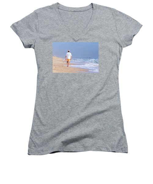 Women's V-Neck T-Shirt (Junior Cut) featuring the photograph Solitude by Keith Armstrong