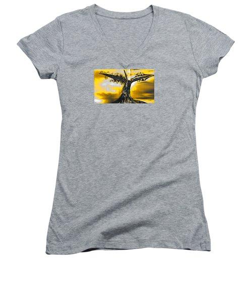 Solitude Women's V-Neck T-Shirt (Junior Cut) by Yul Olaivar
