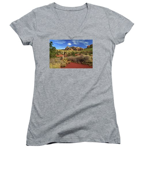 Some Cactus In Sedona Women's V-Neck T-Shirt (Junior Cut) by James Eddy