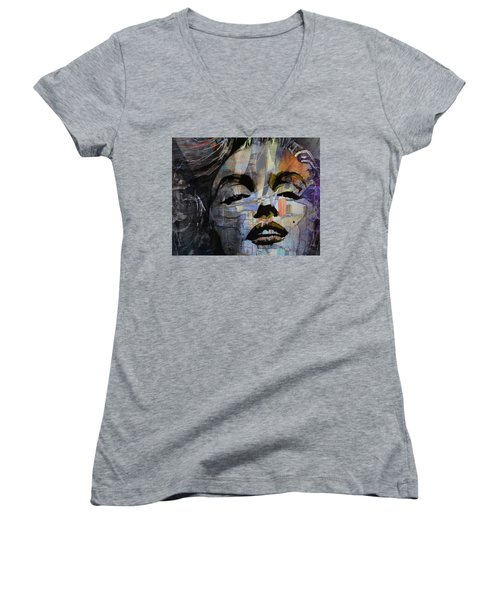 Women's V-Neck T-Shirt (Junior Cut) featuring the painting Some Like It Hot Retro by Paul Lovering