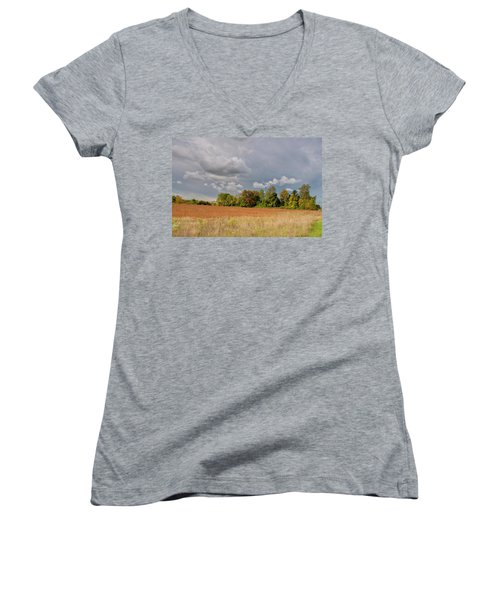 Women's V-Neck T-Shirt (Junior Cut) featuring the photograph Somerset Sky 3069 by Guy Whiteley