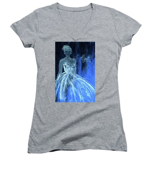 Women's V-Neck T-Shirt (Junior Cut) featuring the painting Something Blue by P J Lewis