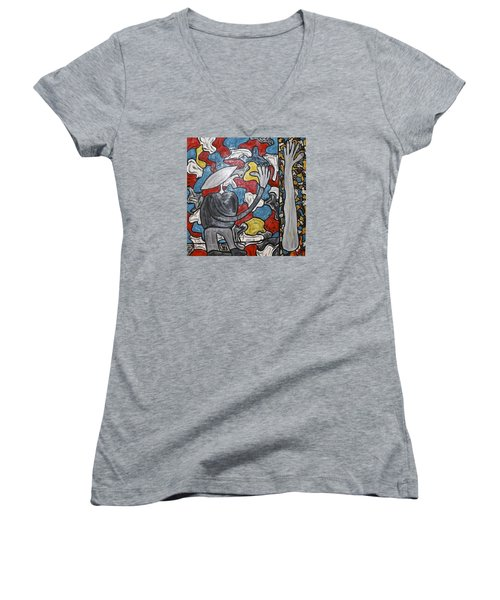 Sometimes I Feel I'm Loosing Part Of Myself Women's V-Neck T-Shirt (Junior Cut) by Mario Perron